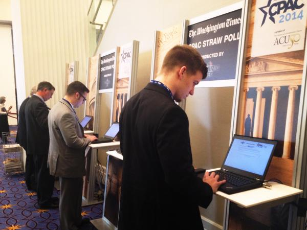 CPAC attendees vote Thursday in the event's annual presidential straw poll.