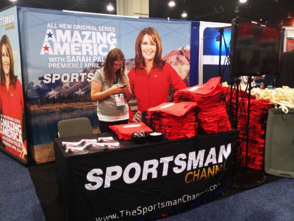 A booth at CPAC promotes Sarah Palin's latest cable television show, <em>Amazing America.</em>