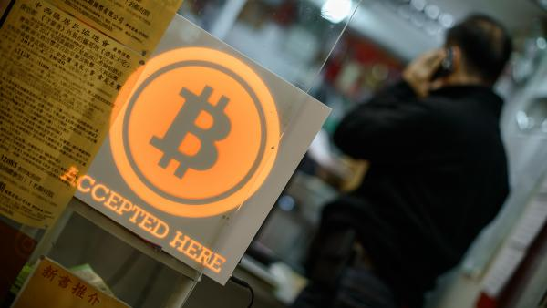 A Bitcoin sign at a shop in Hong Kong.