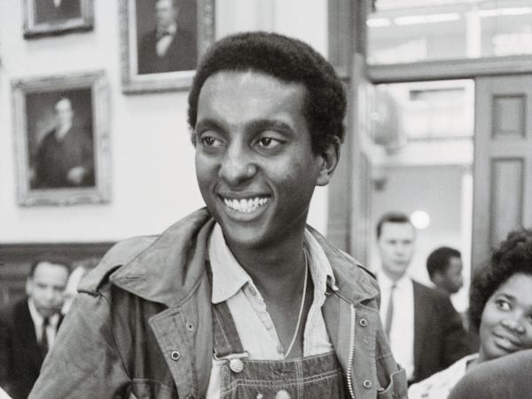 "Stokely Carmichael, chairman of the Student Nonviolent Coordinating Committee, speaks to reporters in Atlanta in May 1966. That year, his use of the phrase ""black power"" at a rally in Mississippi grabbed the nation's attention."
