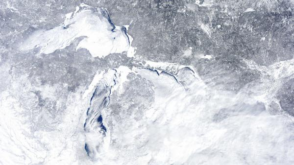 "The mostly frozen Great Lakes on Feb. 16. Not sure which lake is which? <a href=""http://www.michigan.gov/deq/0,4561,7-135-3313_3677-15926--,00.html"">Click here</a>."