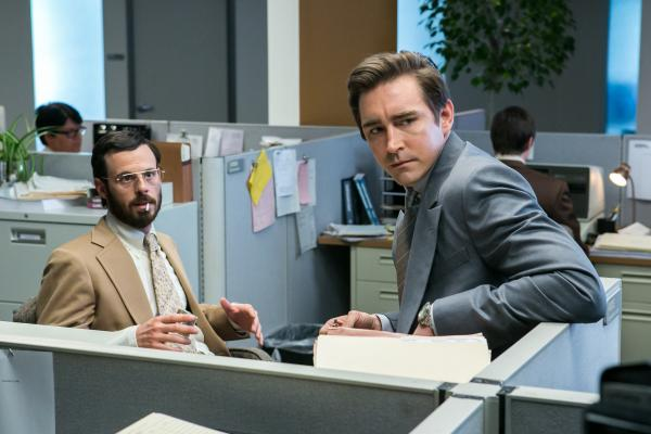 Scoot McNairy (left) and Lee Pace star in AMC's upcoming show <em>Halt and Catch Fire</em>.