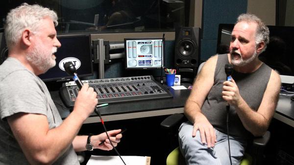 World Cafe host David Dye (left) speaking with Jody Denberg.