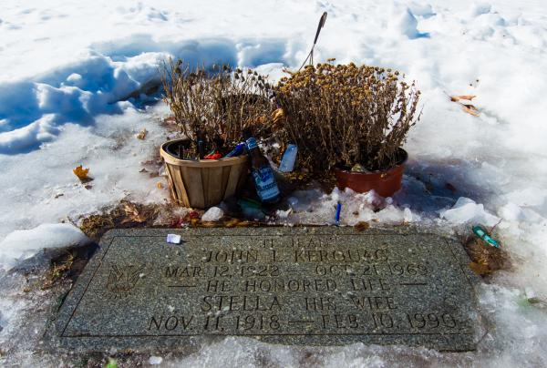 Jack Kerouac's grave is pictured in Edson Cemetery in Lowell. (Casey Ashlock)