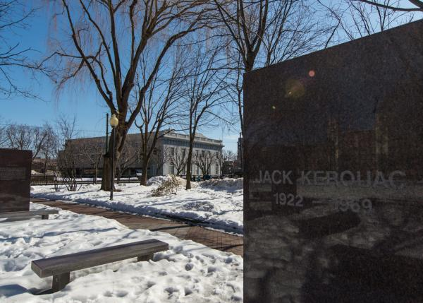 Kerouac Memorial Park in Lowell features large stones engraved with some of Kerouac's famous writings. (Casey Ashlock)