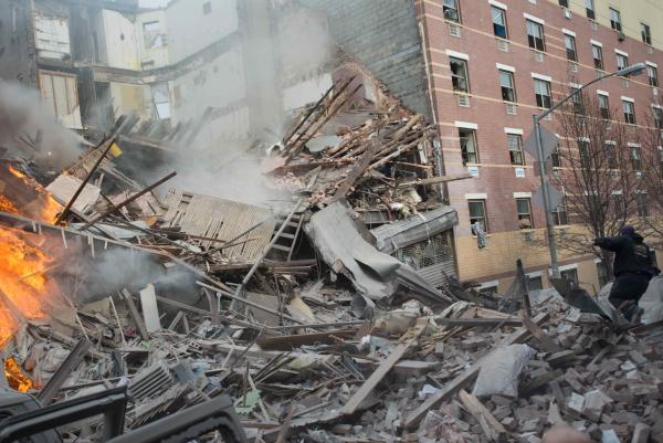 Two buildings collapsed in Harlem on Wednesday after an explosion and fire. Authorities say there were reports of a gas leak shortly before the blast.