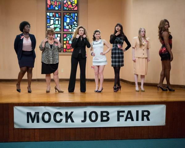 Danielle Brooks, Lin Tucci, Natasha Lyonne, Yael Stone, Jackie Cruz, Emma Myles and Laverne Cox in a scene from Netflix's <em>Orange Is The New Black</em>.