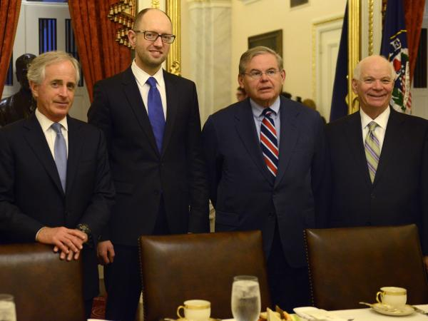 Sen. Bob Corker, R-Tenn. (from left), Ukraine's Prime Minister Arseniy Yatsenyuk and Sens. Robert Menendez, D-N.J., and Ben Cardin, D-Md., met on Capitol Hill on Wednesday.