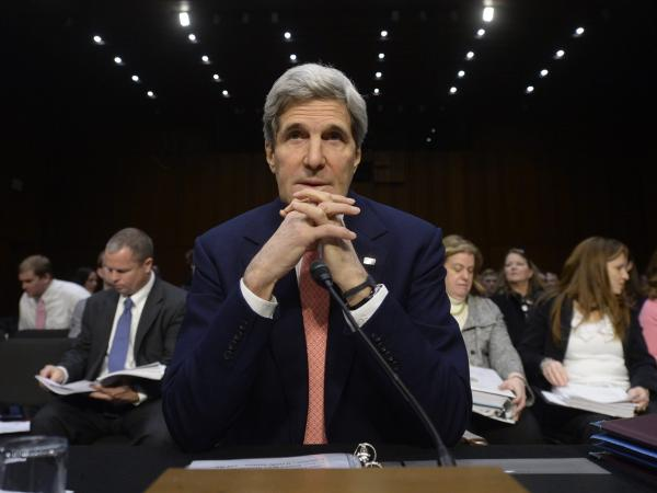 U.S. Secretary of State John Kerry during his testimony Thursday before a Senate Appropriations subcommittee.