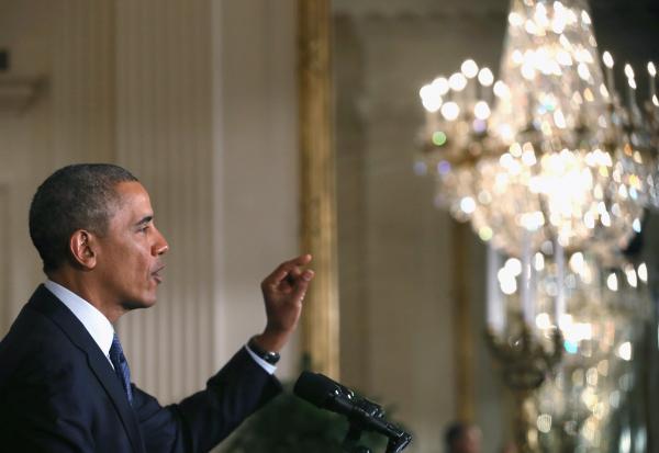 President Obama in the East Room of the White House, on Thursday.