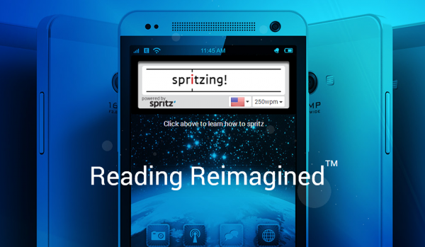 Screenshot of the Spritz homepage.