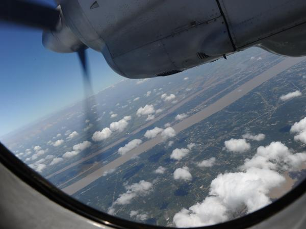 A Vietnamese Air Force plane returns from a search operation over Vietnam's southern sea.