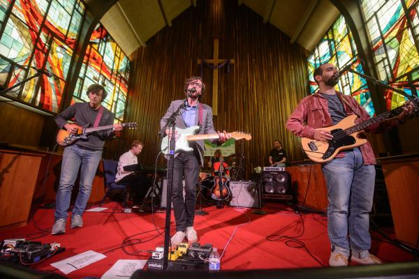 <p>At 1:00 a.m., Real Estate's set at Central Presbyterian Church was perfectly calm — the complete opposite of the chaos on 6th Street.</p><p></p>