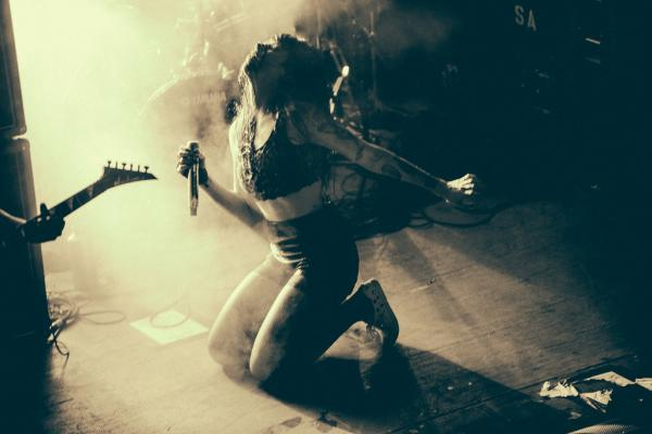 Always a compelling presence, Alexis Krauss put all of her being into Sleigh Bells' Belmont show.
