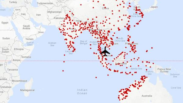 A map shows runways that would potentially be within range of Malaysia Airlines flight MH370.