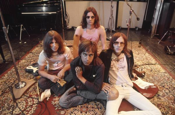The Stooges (L-R Dave Alexander, Iggy Pop in front, Scott Asheton in back and Ron Asheton) in the studio in 1970, during the making of their second album, <em>Fun House</em>.