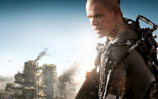 "Matt Damon is pictured in the film ""Elysium."""
