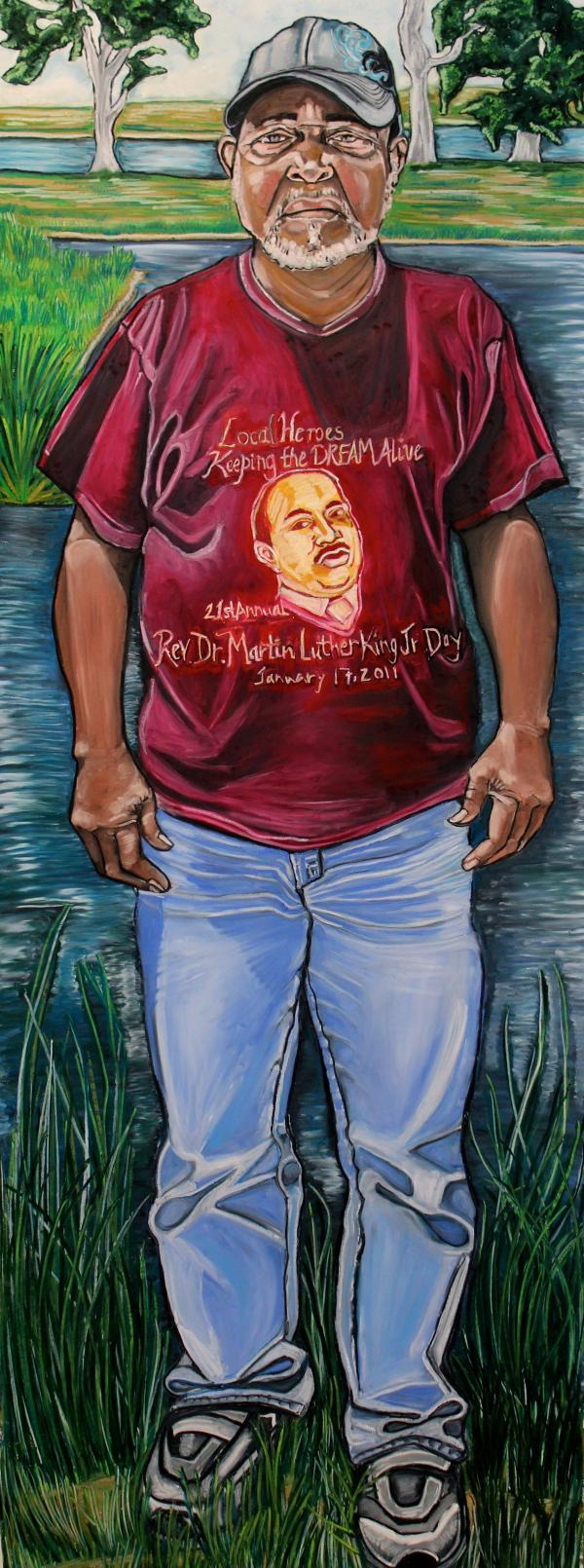 <em>Gary Barthelmy, Oyster Fisherman</em> is a portrait by Reeva Wortel, used in conjunction with the production of <em>Spill,</em> a play that runs through March 30 at the Swine Palace in Baton Rouge.