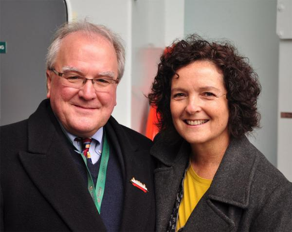 David Moseley, the head of Washington State Ferries, with Washington Transportation Secretary Paula Hammond.