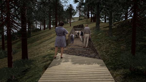 Visitors to the memorial walk on a wooden pathway, through a tunnel and then emerge at the edge of the severed peninsula across from the island where the shooting occurred.