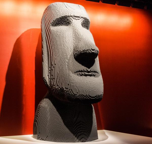 <em>Moai </em>by artist Nathan Sawaya.