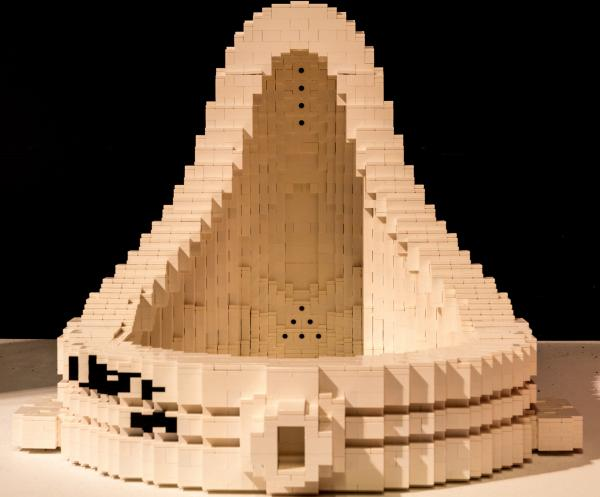 The Fountain by artist Nathan Sawaya, is based off the famous sculpture by Marcel Duchamp. Allegedly, Brian Eno claims to have successfully urinated in the original.