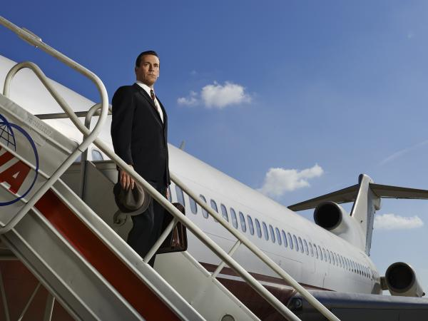 Jon Hamm as Don Draper in a publicity photo for the upcoming seventh season of <em>Mad Men</em>. This is pretty much all we know. If we told you more, we'd have to ... well, you know.