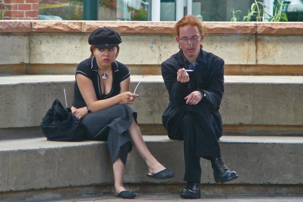 Smokers in Old Town Fort Collins, in this file photo from May 2007.