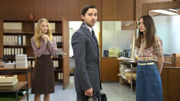 Felicity Gilbert, Shia LaBeouf and Stacy Martin in one of the episodic flashbacks that spin out the story of <em>Nymphomaniac: Volume I.</em>