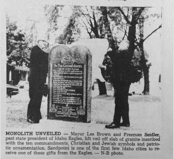 A newspaper clipping from 1972 shows the placement of a 10 Commandments monument in Sandpoint, Idaho.