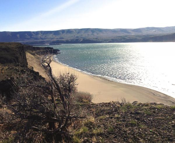 A bluff overlooking the Columbia River near Vantage, Wash. Native Americans in Washington state are deeply concerned about the more than 80 miles of sandy shore that has been exposed. Already two very old skeletons have been found.