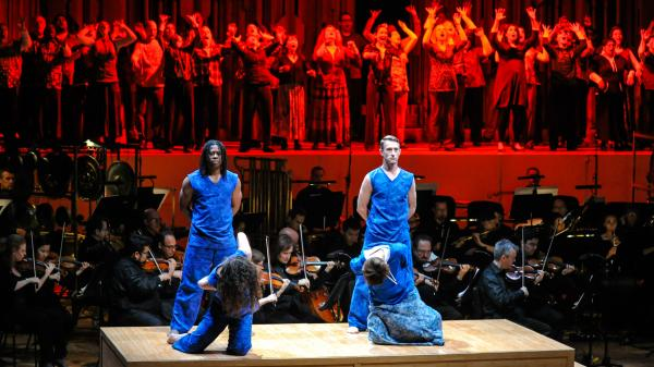 A moment from <em>The Gospel According to the Other Mary</em>, as performed by the Los Angeles Philharmonic in 2013 at London's Barbican Centre.