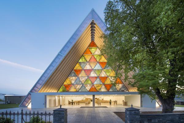 Outside the Cardboard Cathedral in Christchurch.