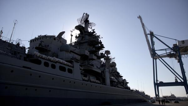 The Russian ship Pyotr Velikiy (Peter the Great), seen here docked in the Cypriot port of Limassol in February, is part of the team involved in escorting shipments of Syria's chemical weapons material for destruction.