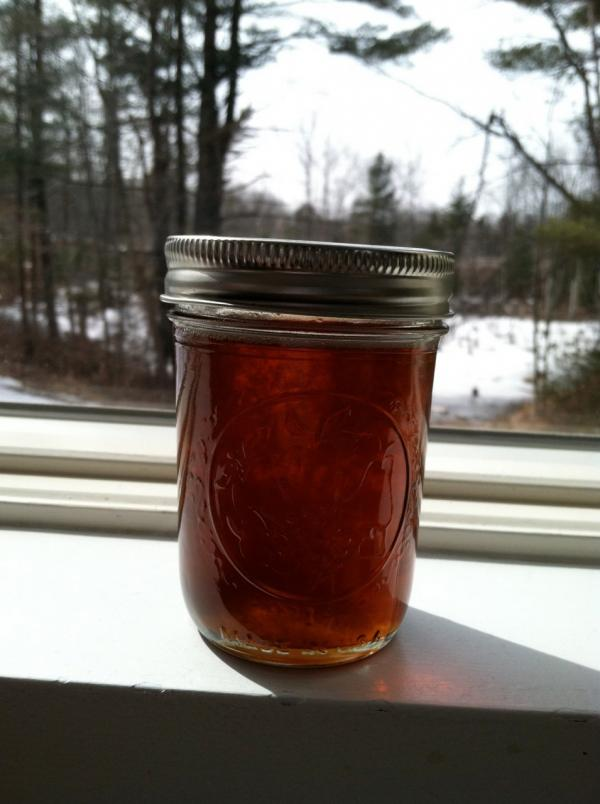 First run maple syrup from Kathy and John's trees. (Kathy Gunst/Here & Now)