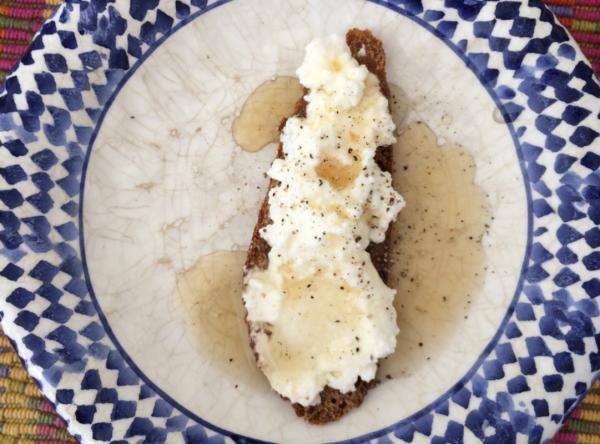 """Open-Faced Fresh Ricotta Cheese on Whole Grain Bread with Maple Syrup"" (Kathy Gunst/Here & Now)"