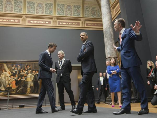 President Obama tours the Rijksmusuem with Dutch Prime Minister Mark Rutte (left) and others ahead of the G-7 summit in The Hague, Netherlands, which is certain to focus on the situation in Crimea.