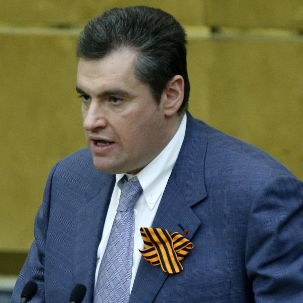 Russian lawmaker Leonid Slutsky wears a ribbon to show support for Russia's takeover of Crimea. The same symbol is used to mark the Soviet victory in WWII and dates back centuries.