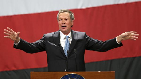 Ohio Gov. John Kasich delivers his State of the State address Feb. 24 at the Performing Arts Center in Medina, Ohio.