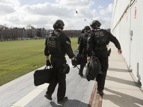 Members of the U.S. Secret Service's Counter Assault Team, known in the agency as CAT, are seen before boarding helicopters at a landing zone in Rijksmuseum in Amsterdam, Netherlands, on Monday.