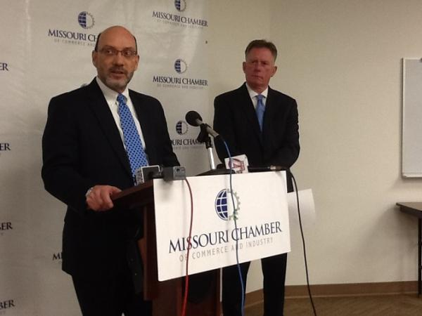 (l-r) Mo. Hosp. Assoc. CEO Herb Kuhn and Mo. Chamber CEO Dan Mehan discuss survey of hospitals with reporters on March 26, 2014.