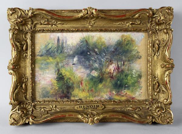 Renoir's <em>On the Shore of the Seine</em> returns to the Baltimore Museum of Art more than 60 years after its theft. Rumor has it Renoir painted the tiny piece on a linen napkin for his mistress. It was stolen from the museum in 1951 and resurfaced in 2012 when a woman tried to sell it, claiming she had bought it at a flea market.