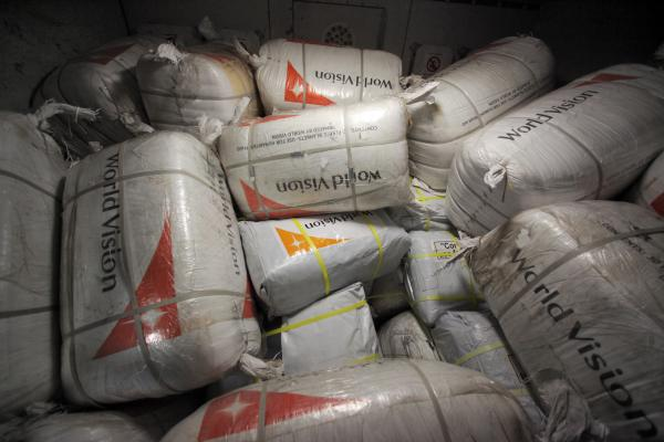 Aid packages labled 'World Vision' for the victims of typhoon 'Haiyan' in the Philippines are loaded into a Lufthansa aircraft at Frankfurt International Airport in Germany.