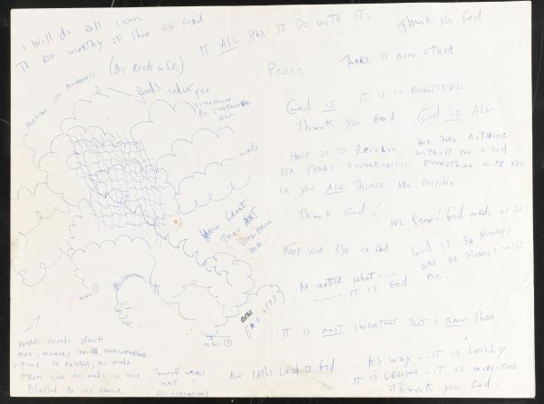 John Coltrane's personal notes from the manuscript of <em>A Love Supreme</em>.