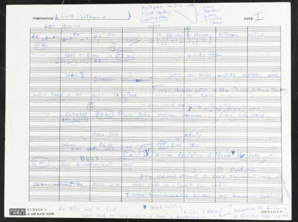 John Coltrane's handwritten outline of <em>A Love Supreme.</em>