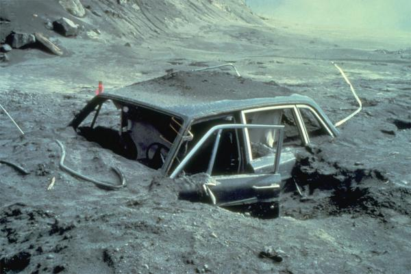 File photo of photographer Reid Blackburn's car after the eruption of Mount St. Helens in May 1980.