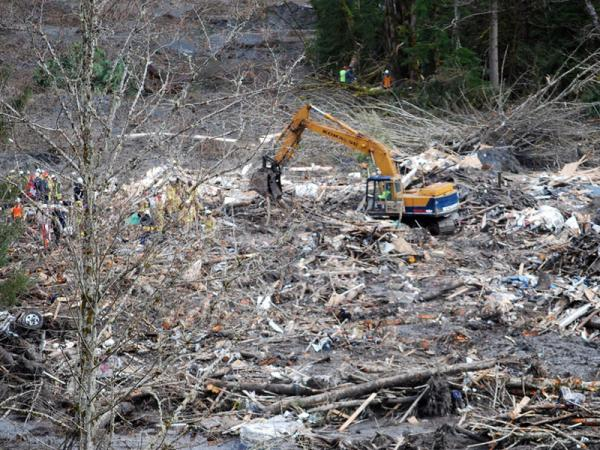 A view of the debris field after Saturday's massive landslide near Oso, Wash.