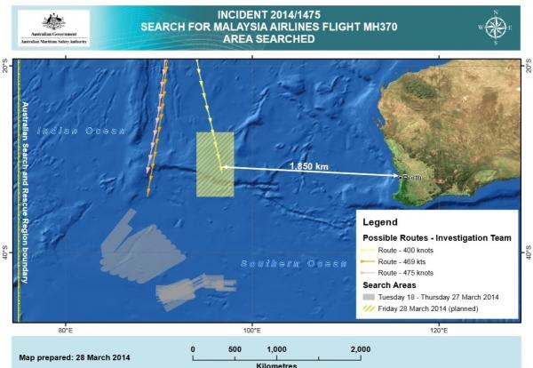 The new search area for Malaysia Airlines Flight 370 is about 1,100 miles west of Perth, Australia. Previous search areas are shaded gray and were about 700 miles to the southwest.