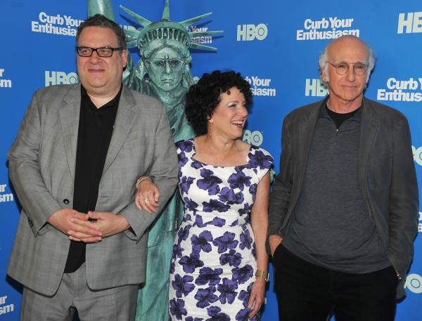 Susie Essman with her fellow cast mates Jeff Garlin (L) and Larry David of the HBO show 'Curb Your Enthusiasm' (Theo Wargo/Getty Images)
