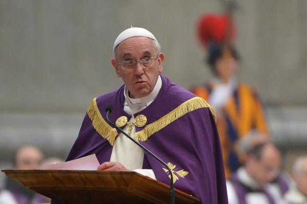 Pope Francis leads a mass at St Peter's basilica on Friday at the Vatican.